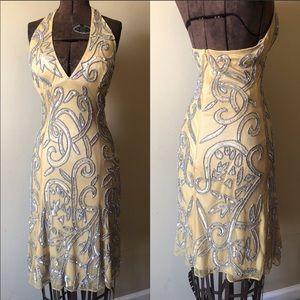 Beautiful beaded halter formal dress